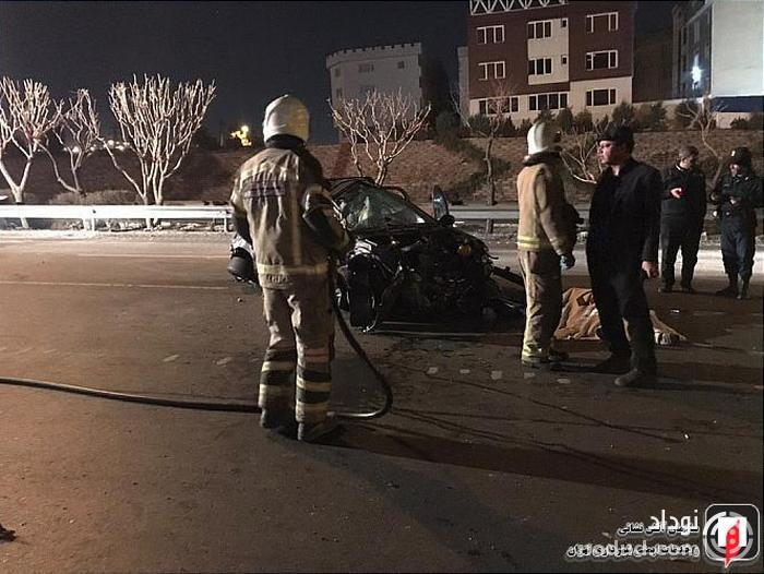 برخورد مرگبار خودرو سواری با گاردریل در بزرگراه یادگار امام(ره)