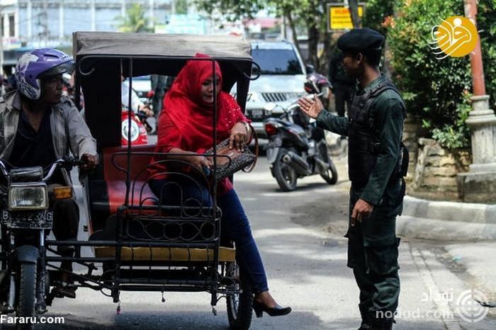 برخورد گشت ارشاد اندونزی با بدپوششی+عکس