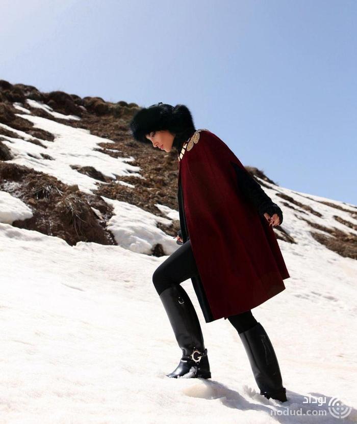 عکس لاکچری خاطره اسدی در برف