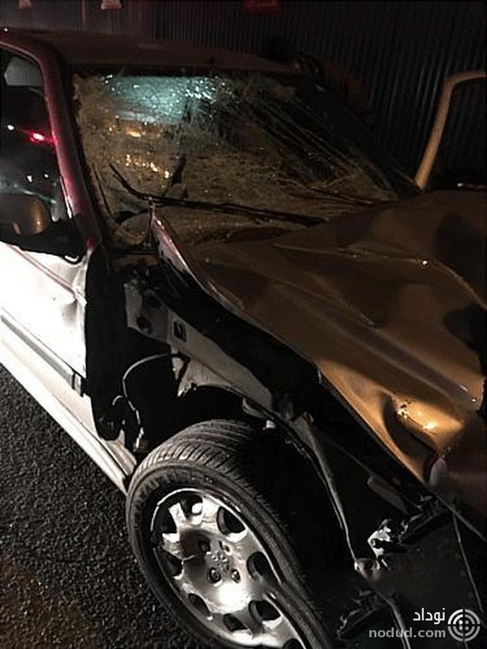 مصدومیت بانوی جوان در برخورد خودرو با کامیون
