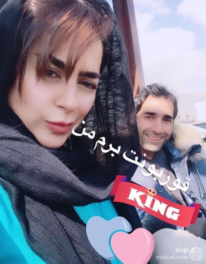 سلفی عاشقانه سمانه پاکدل و همسرش هادی کاظمی+عکس