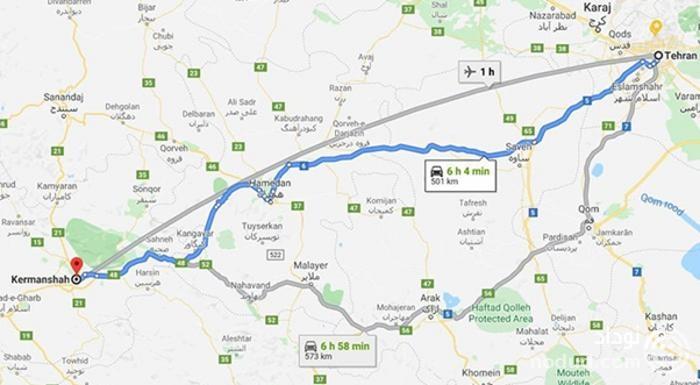 نقشه راه کرمانشاه